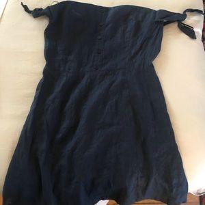 Reformation Linen Off-shoulder Mini Dress Navy Blu